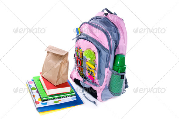 Book bag and lunch - Stock Photo - Images
