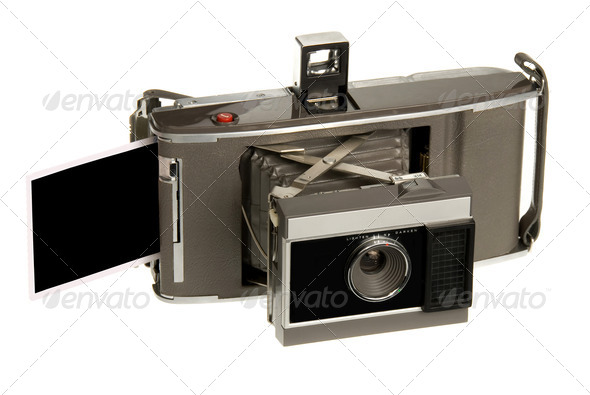 Antique instand print camera - Stock Photo - Images