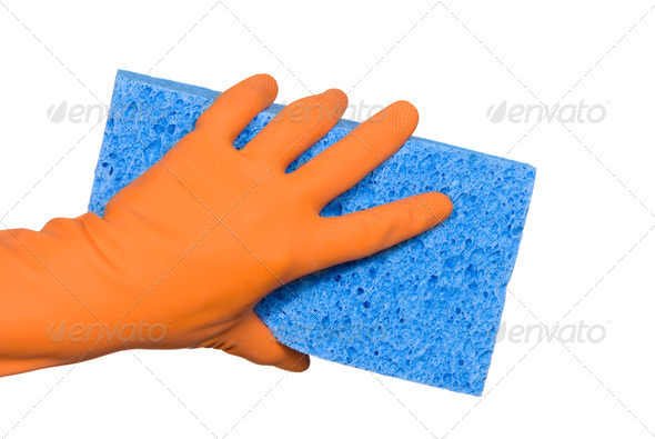Washing glove and sponge - Stock Photo - Images