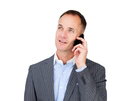 Confident mature businessman talking on phone