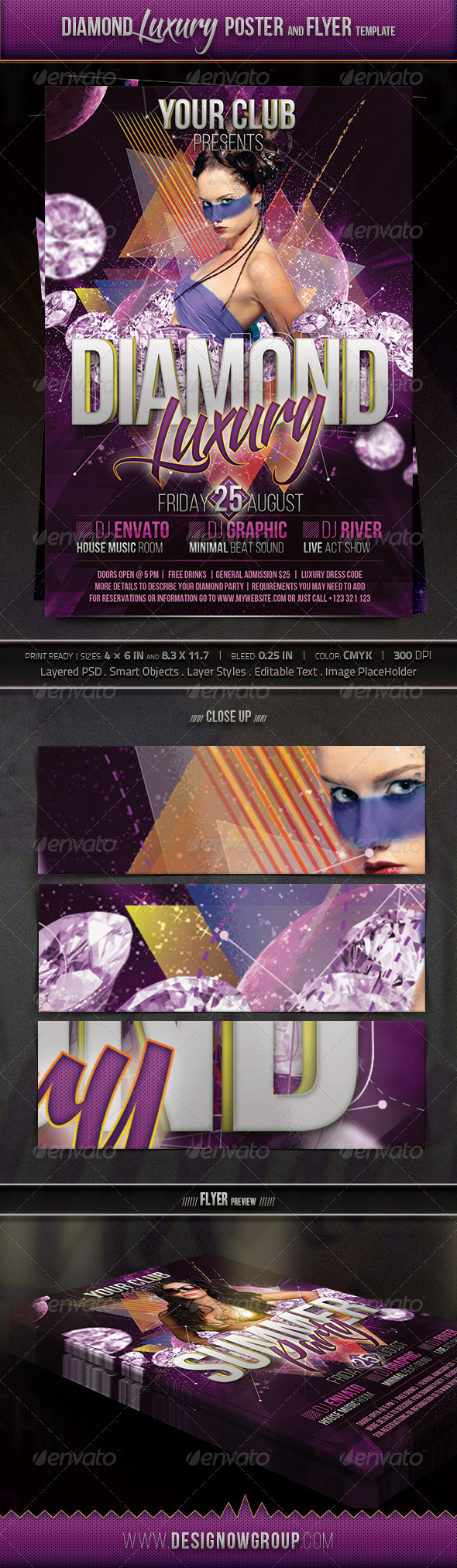 Diamond Luxury Flyer And Poster Template - Clubs & Parties Events