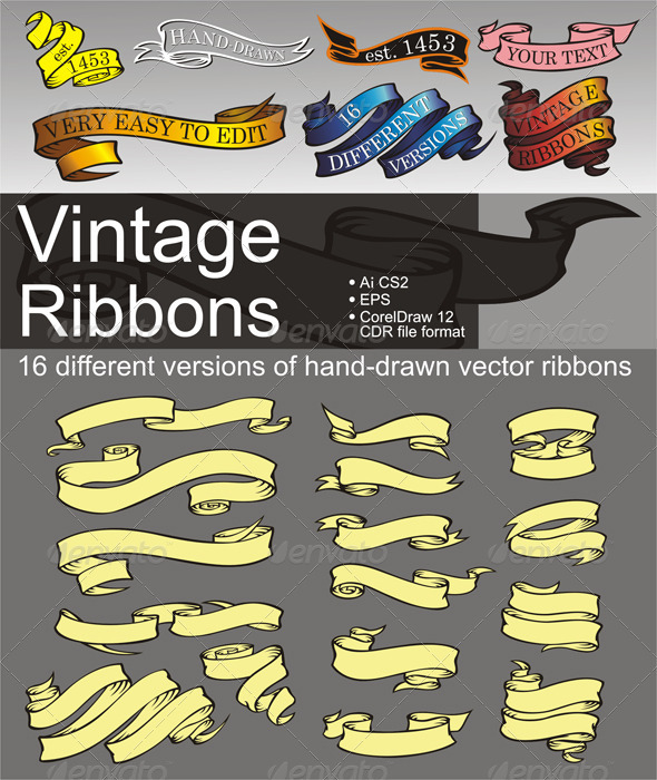 16 Vintage Ribbons - Decorative Vectors