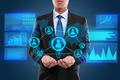 Businessman on hightech concept