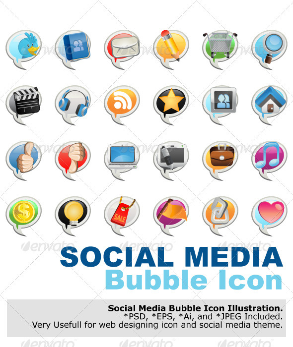 Social Media Bubble Icon - Media Technology