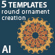 5 Templates For Round Ornament Creation - GraphicRiver Item for Sale
