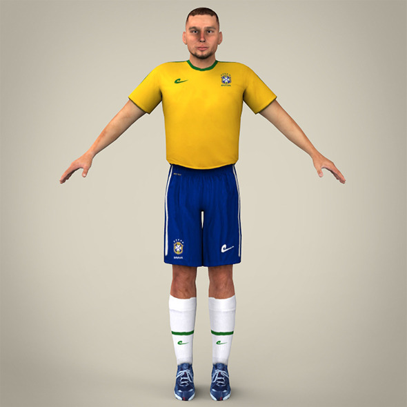 Yello Blue Uniformed Football Player - 3DOcean Item for Sale