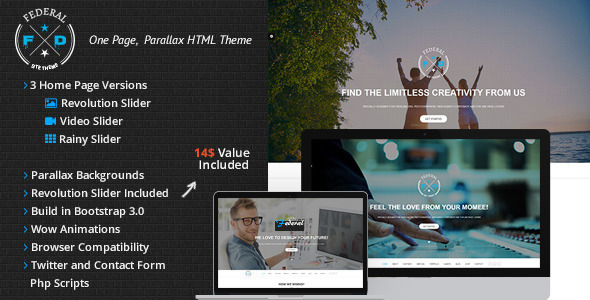 Federal OnePage Parallax Responsive - Business Corporate