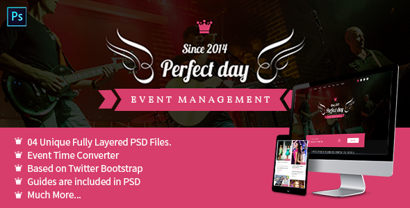 Event Management One Page PSD  - Perfect Day - Events Entertainment