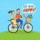 Loving Couple Riding on a Bicycle - GraphicRiver Item for Sale