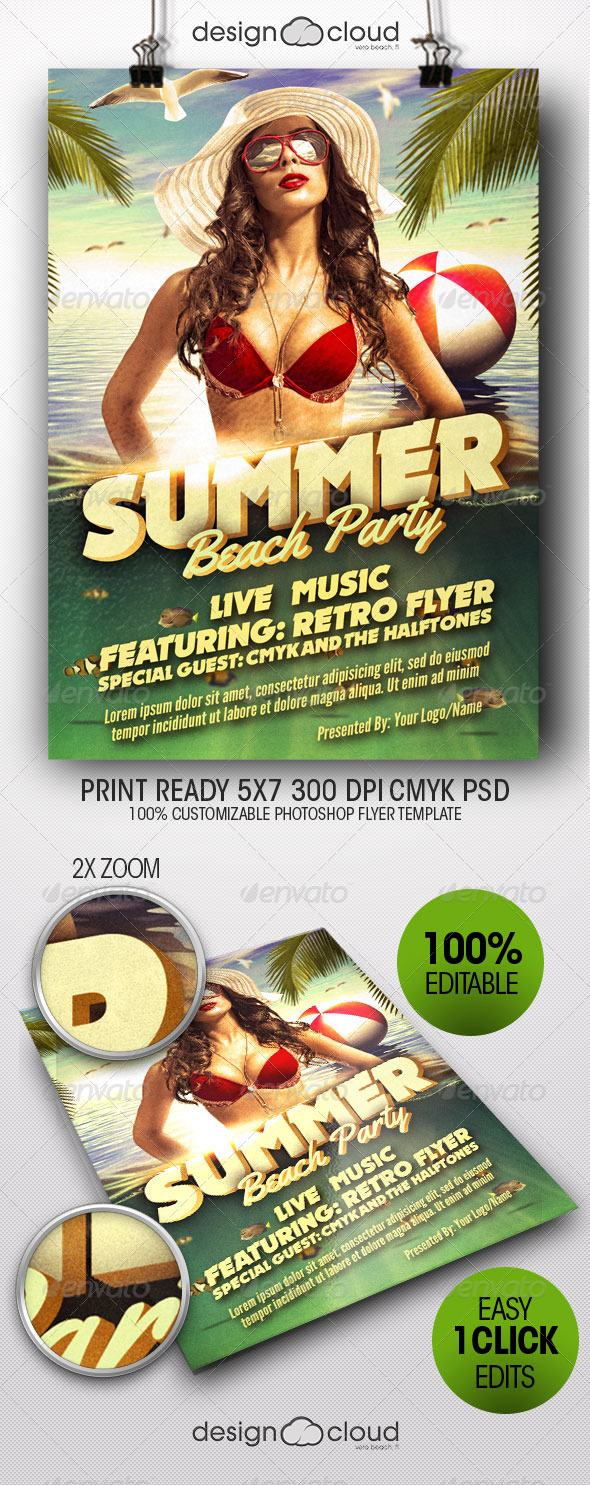 Retro Summer Beach Party Flyer Template - Events Flyers