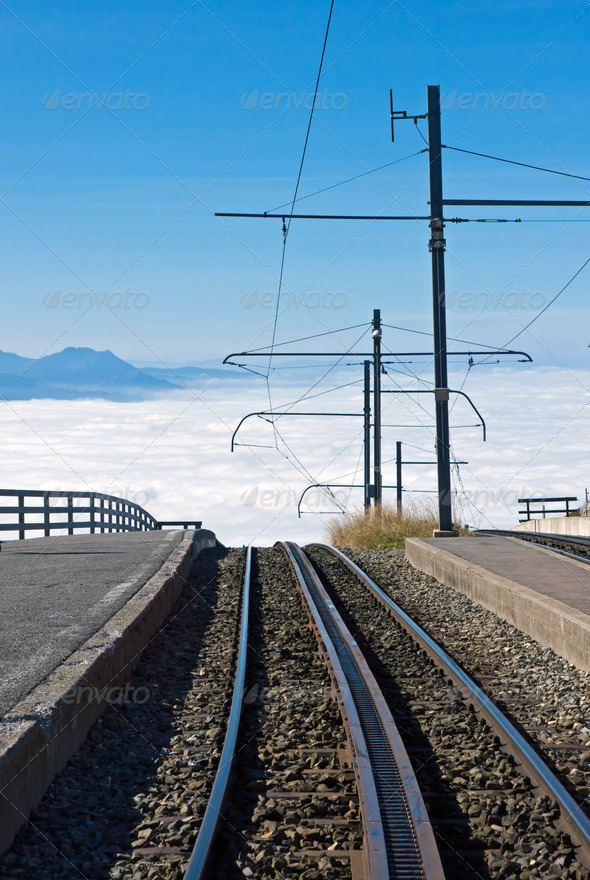 Railway over the clouds - Stock Photo - Images