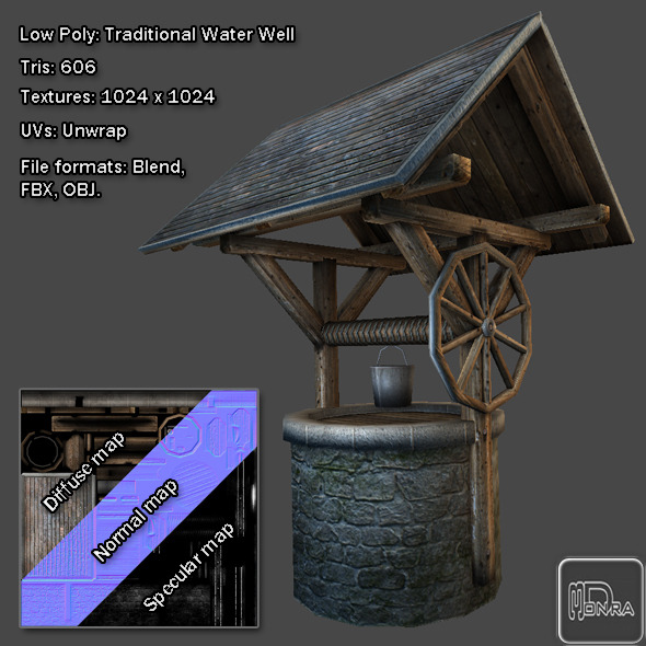 Low Poly: Traditional Water Well - 3DOcean Item for Sale