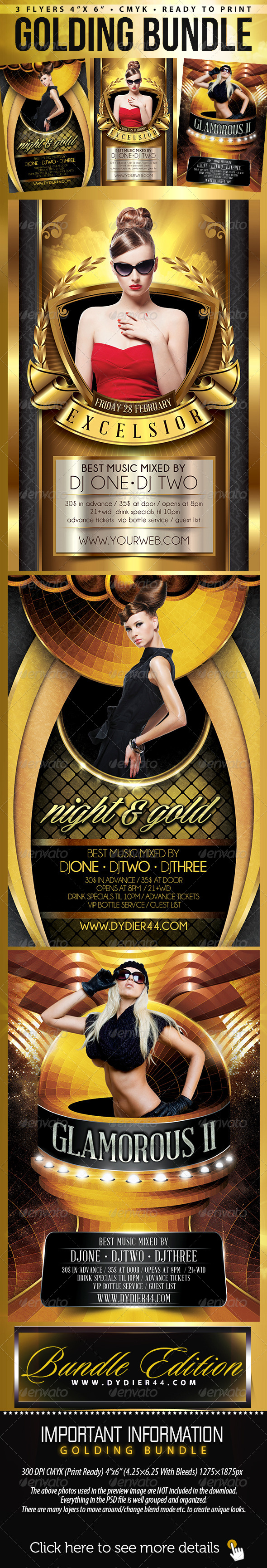 Golding Bundle (Flyer Template 4x6) - Clubs & Parties Events