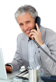 Smiling mature businessman talking on phone