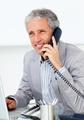 Positive mature businessman talking on phone