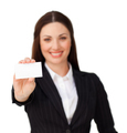 Young businesswoman holding a white card