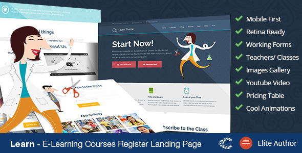 Learn - Education Classes Landing Page - Marketing Corporate