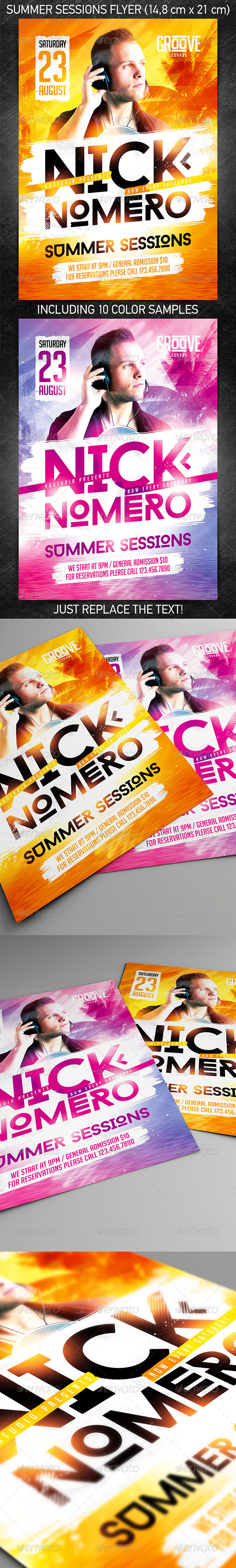 Summer Sessions Party Flyer - Events Flyers