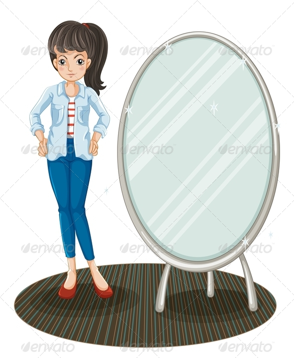Girl standing beside Mirror - People Characters