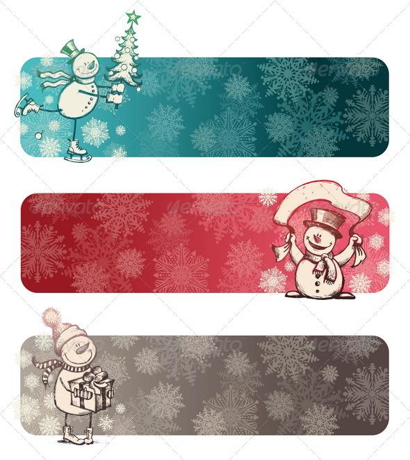 Christmas Banners With Hand Drawn Snowman - Christmas Seasons/Holidays