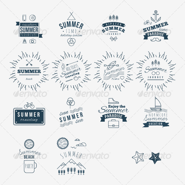 Retro Hand Drawn Elements for Summer - Miscellaneous Conceptual