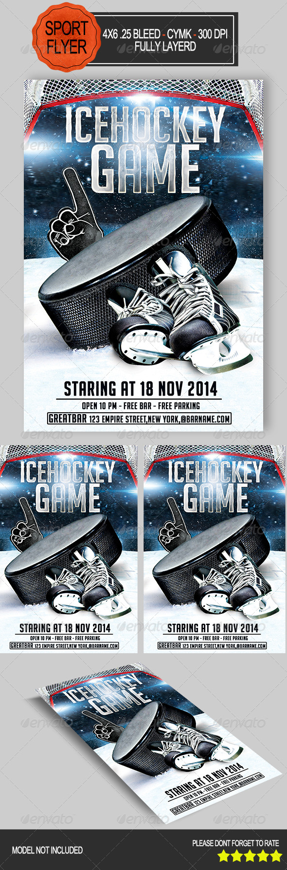 Ice Hockey Game Flyer   - Print Templates