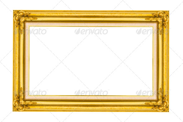 Golden wood picture frame - Stock Photo - Images