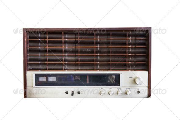 Old radio isolated on white - Stock Photo - Images