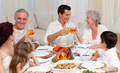 Parents and grandparents tusting with wine in a dinner - PhotoDune Item for Sale