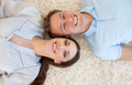 Romantic couple lying on the floor