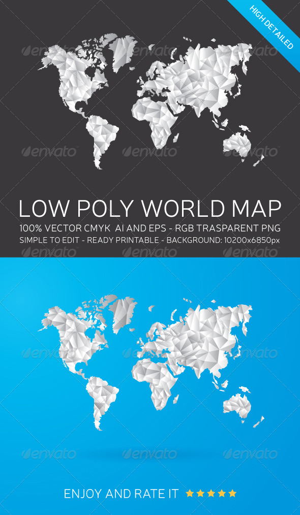 Low poly world map by manudesign graphicriver low poly world map backgrounds decorative gumiabroncs Image collections