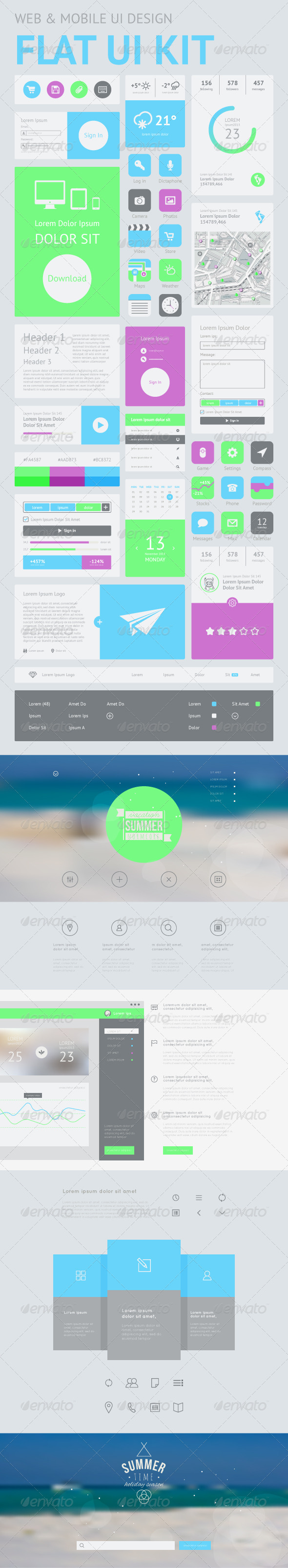 One Page Website Design Template - Web Elements Vectors