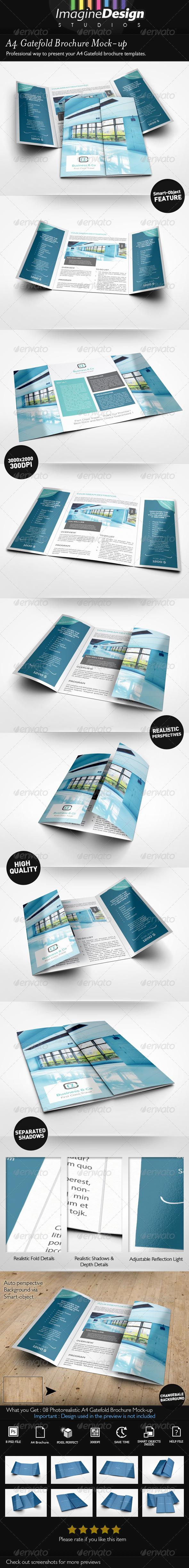 A4 Gatefold Brochure Mockup by BaGeRa – Gate Fold Brochure Mockup