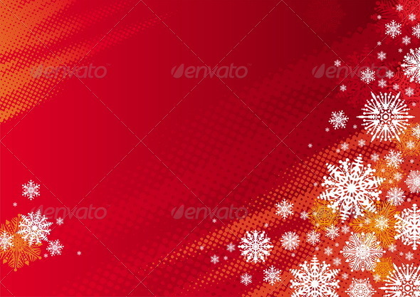 Red Holidays Vector Background With Snowflakes - Seasons/Holidays Conceptual