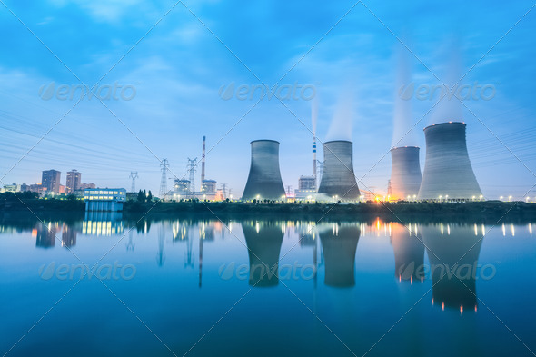thermal power plant in nightfall - Stock Photo - Images