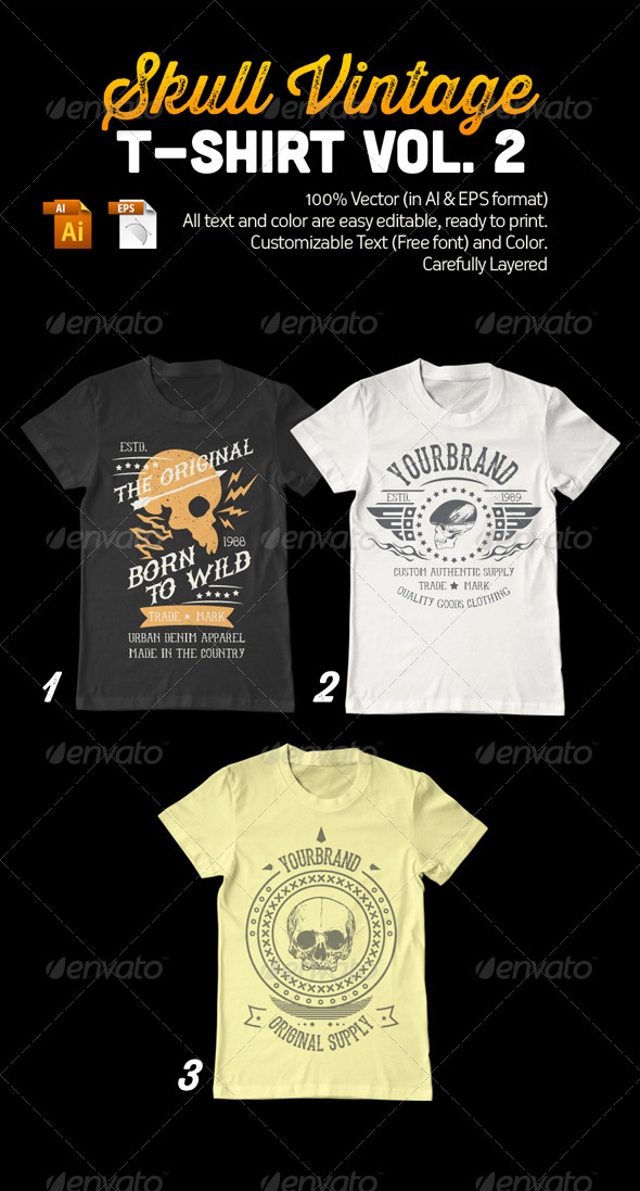 Skull Vintage T-Shirt Vol. 2 - Grunge Designs