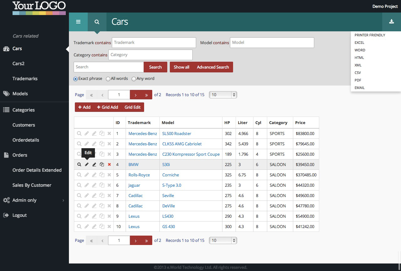 Juno, CSS3 extension theme for PHPMaker10