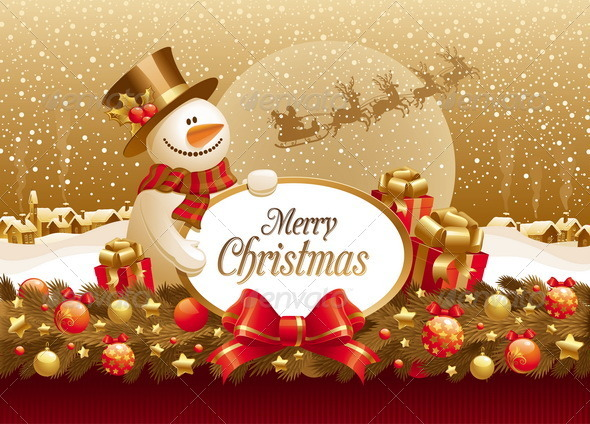 Snowman With Christmas Greeting and Decoration - Seasons/Holidays Conceptual