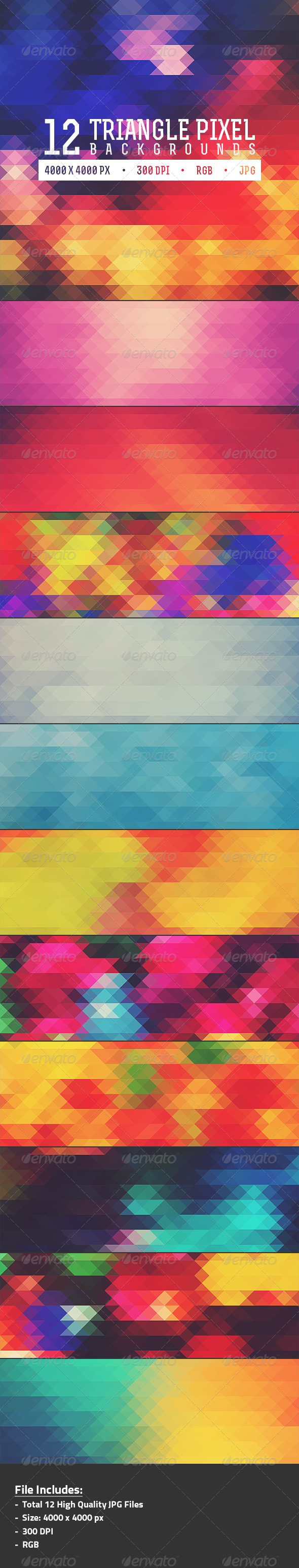 12 Triangle Pixel Backgrounds Pack 2 - Abstract Backgrounds