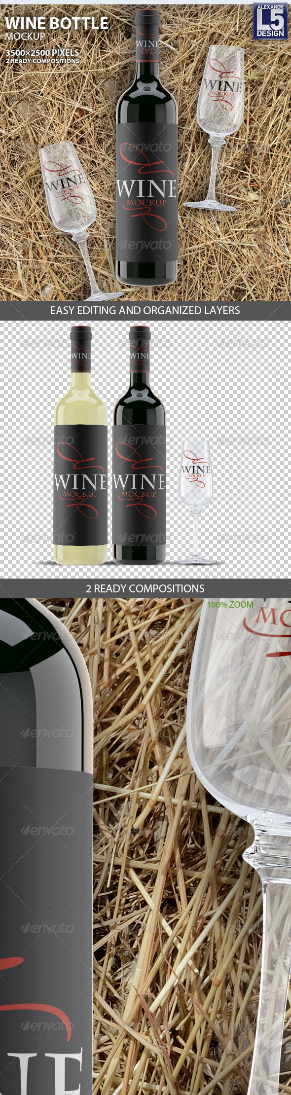 Wine Bottle Mockup - Food and Drink Packaging