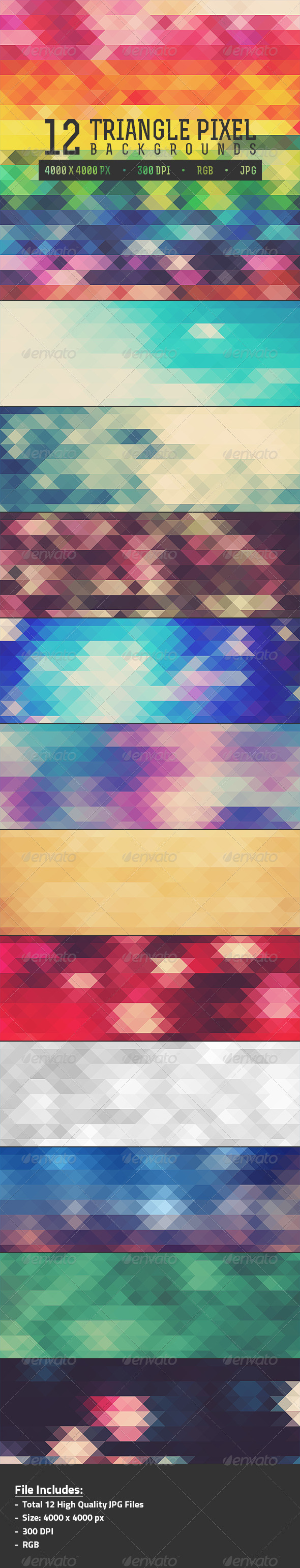 12 Triangle Pixel Backgrounds Pack 1 - Abstract Backgrounds