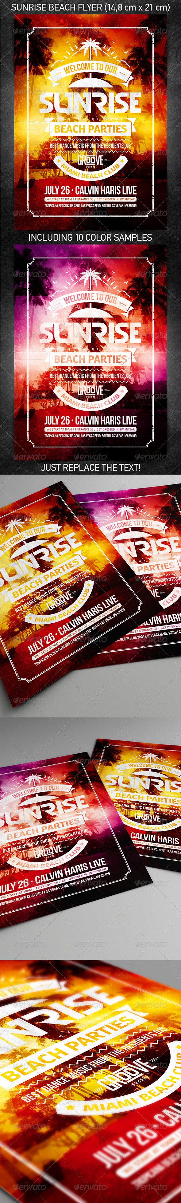 Sunrise Beach Party Flyer - Events Flyers