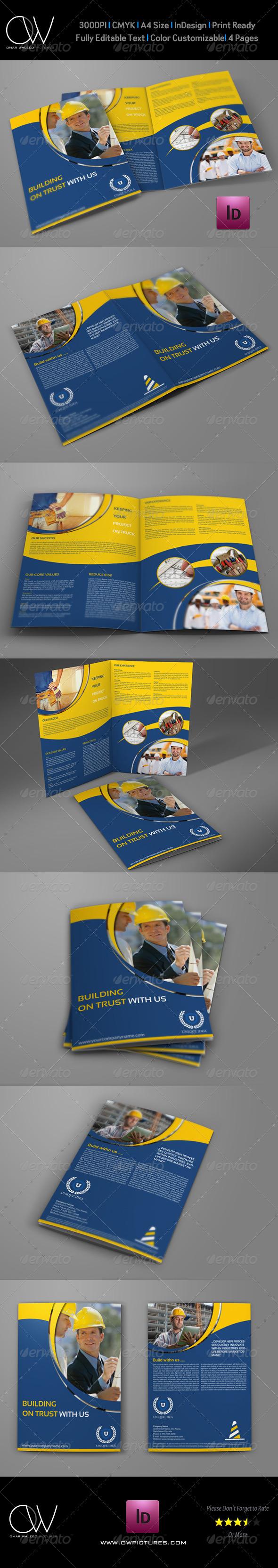 Construction Company Brochure Bi-Fold Template - Corporate Brochures