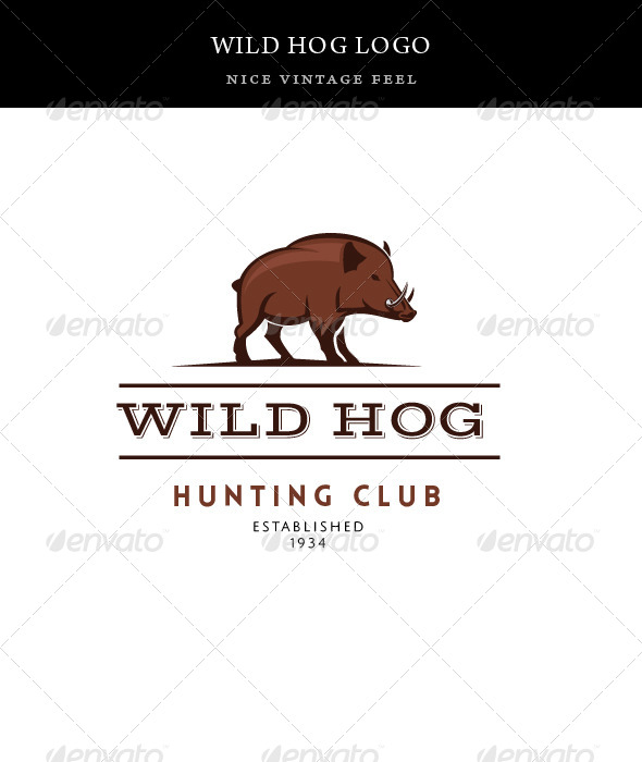 Vintage Wild Hog Logo Template - Animals Logo Templates