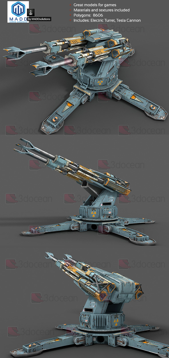 Electric Turret, Tesla Cannon - 3DOcean Item for Sale