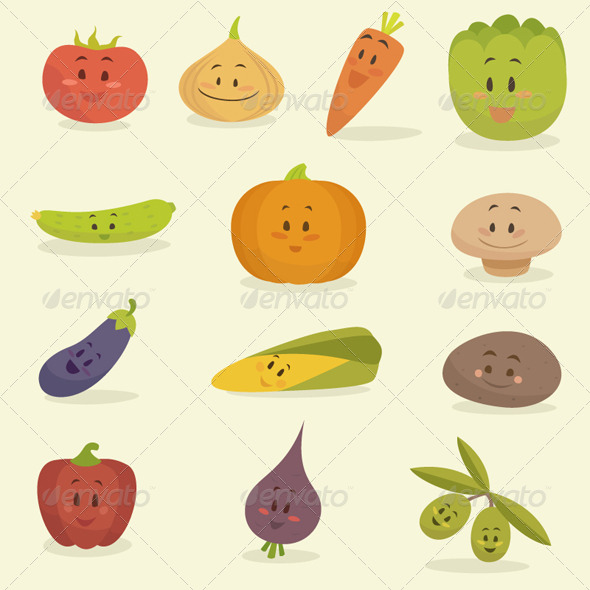 Cartoon Vegetables - Food Objects