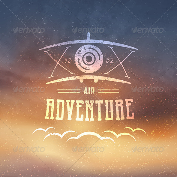 Retro Airplane Badge - Abstract Conceptual