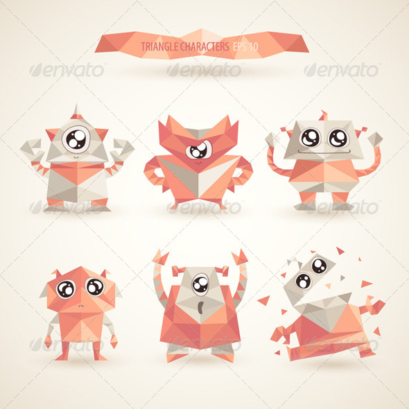Triangle Robot Characters - Technology Conceptual
