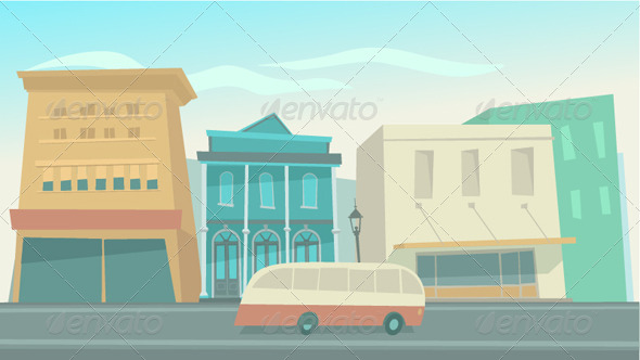Big City with Cars  - Buildings Objects