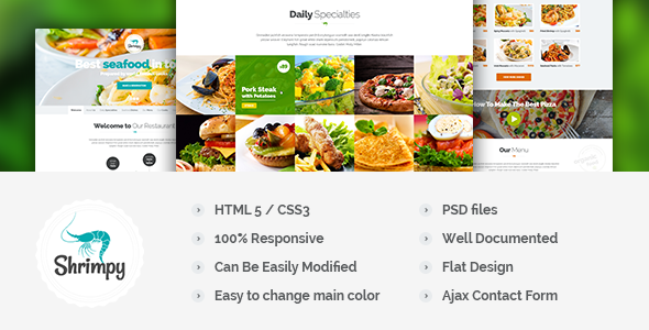 Shrimpy - Responsive Onepage Restaurant Template